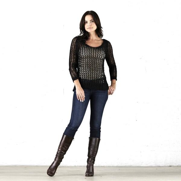 Elan Women's Black Long-sleeve Knit Sweater