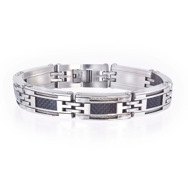 Men's Stainless Steel Carbon Fiber Insert Bracelet By Ever One