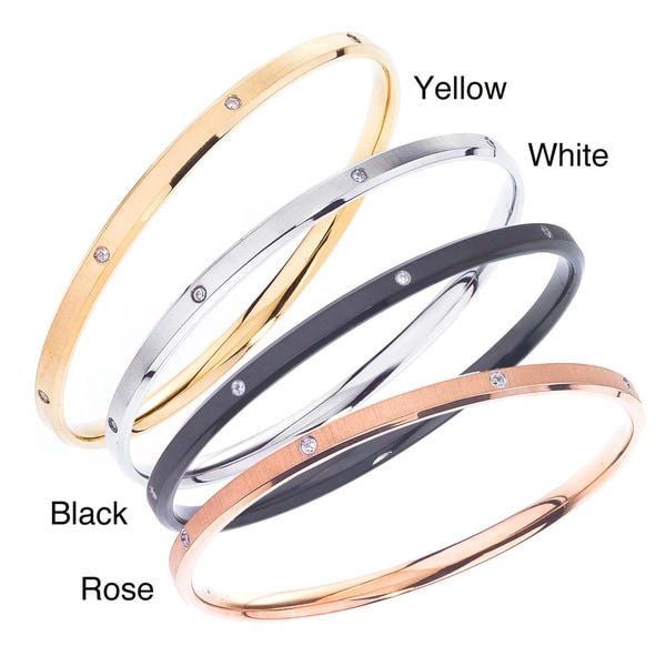 Stainless Steel Cubic Zirconia Accent Bangle Bracelet By Ever One