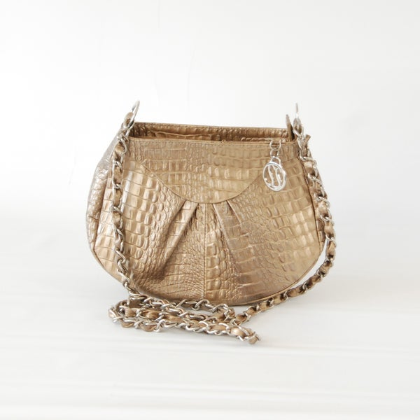 Claudia G. Gold Croc Embossed Leather Shoulder Bag