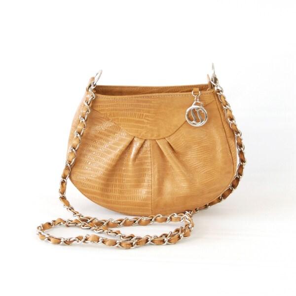 Claudia G. Camel Croc Embossed Leather Shoulder Bag