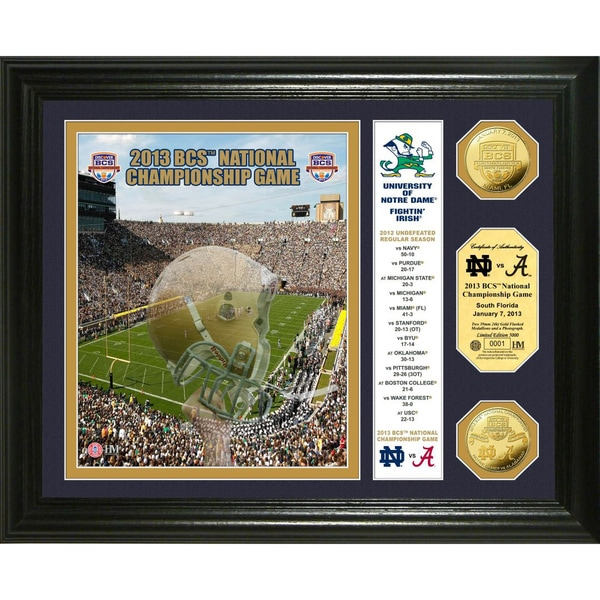 Highland Mint Notre Dame 2013 'BCS National Championship Game' Gold Coin Banner Photomint