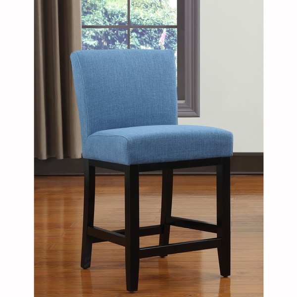 Portfolio Orion Caribbean Blue Linen Upholstered 23-inch Bar Stool