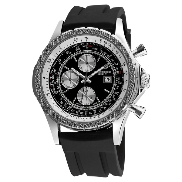 Akribos XXIV Men's Multifunction Rubber Silver-Tone Strap Watch