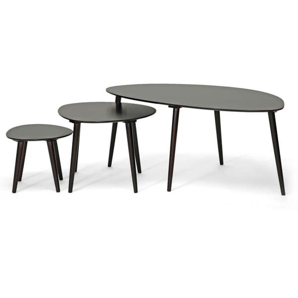 Baxton Studio Metis Dark Brown 3-piece Modern Nesting Table Set