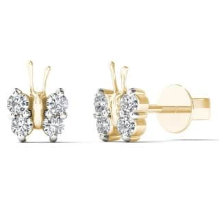AALILLY 10k Yellow Gold 1/6ct TDW Diamond Adorable Butterfly Stud Earrings https://ak1.ostkcdn.com/images/products/7569261/P14998840.jpg?impolicy=medium