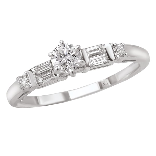 Avanti 14k Gold 1/3ct TDW Round and Baguette-Cut Diamond Ring (G-H, SI1-SI2)