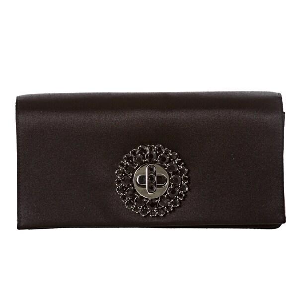 Prada Black Satin Crystal Turn-lock Evening Bag
