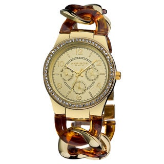 Akribos XXIV Women's Quartz Multifunction Goldtone Crystal-Accented Resin Chain Watch with GIFT BOX