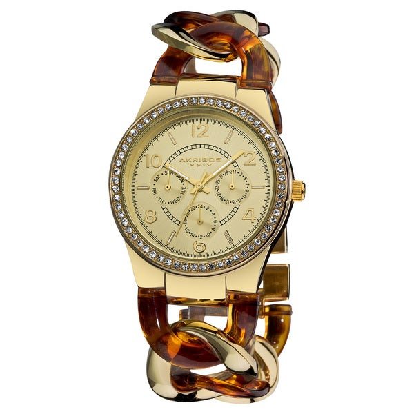 Akribos XXIV Women's Quartz Multifunction Goldtone Crystal-Accented Resin Chain Watch with FREE GIFT