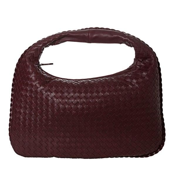 Bottega Veneta Medium Woven Burgundy Nappa Leather Hobo Bag