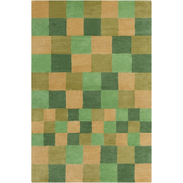 Allie Handmade Geometric Squares Wool Rug (5' x 7'6)