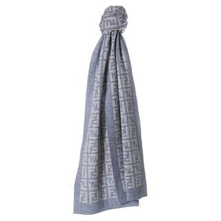 Fendi Blue/ Grey Zucca Knit Scarf
