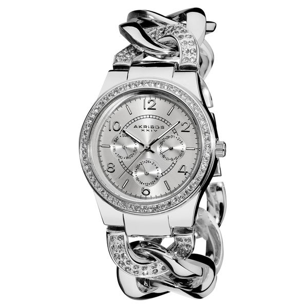 Women's Quartz Multifunction Crystal-Accented Silver Twist Chain Watch