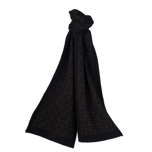 4dcc7c401c92 Shop Fendi FXT838 00QD5 F0RQ5 Black  Brown Zucca Knit Scarf - Free Shipping  Today - Overstock - 7569298