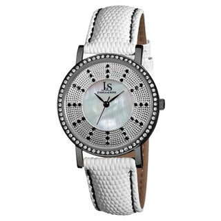 Joshua & Sons Women's Swiss Quartz Stainless Steel Leather-Black Strap Crystal Watch