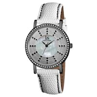 Joshua & Sons Women's Swiss Quartz Stainless Steel Leather-Black Strap Crystal Watch - WHITE