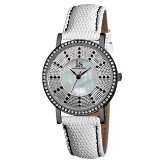 Joshua & Sons Women's Swiss Quartz Stainless Steel Leather-Black Strap Crystal Watch - WHITE