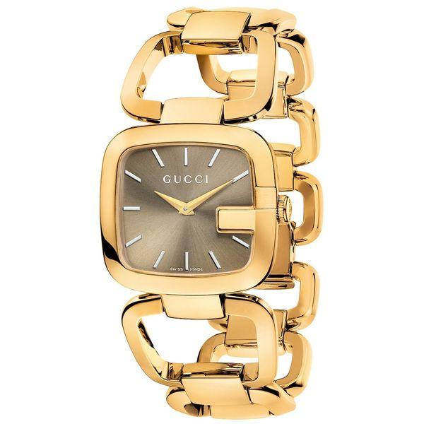 beb9199dceb Shop GUCCI Women s G-Gucci Brown Sun-Brushed Dial Gold Tone ...