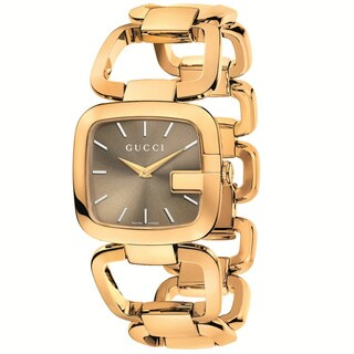 GUCCI Women's YA125408 G-Gucci Brown Sun-Brushed Dial Gold Tone Stainless Steel Watch