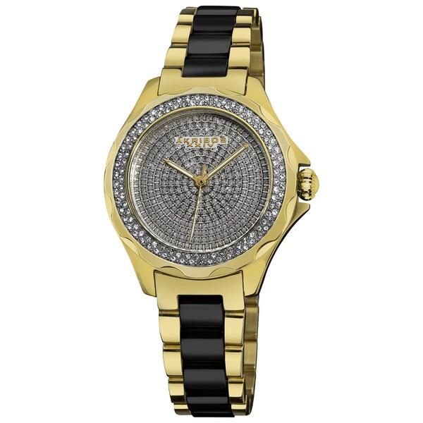 Akribos XXIV Women's Yellow-Gold/Black Swiss Quartz Diamond/Ceramic Link-Bracelet Watch