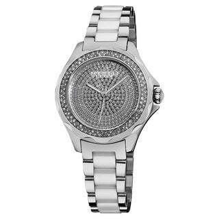 Akribos XXIV Women's Swiss Quartz Diamond Ceramic Link Silver-Tone Bracelet Watch with FREE GIFT - Silver