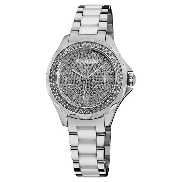 Akribos XXIV Women's Swiss Quartz Diamond Ceramic Link Silver-Tone Bracelet Watch - silver
