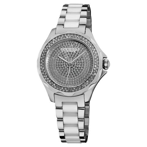 584a9b3c6 Akribos XXIV Women's Swiss Quartz Diamond Ceramic Link Silver-Tone Bracelet  Watch - silver
