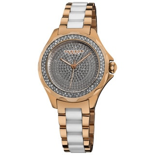 Akribos XXIV Women's Rose-Tone-Gold/Silver Swiss Quartz Diamond/Ceramic Link-Bracelet Watch