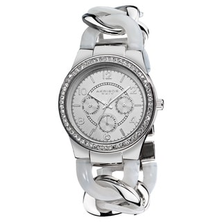 Akribos XXIV Women's Quartz Multifunction Crystal Accented Resin Chain White Watch