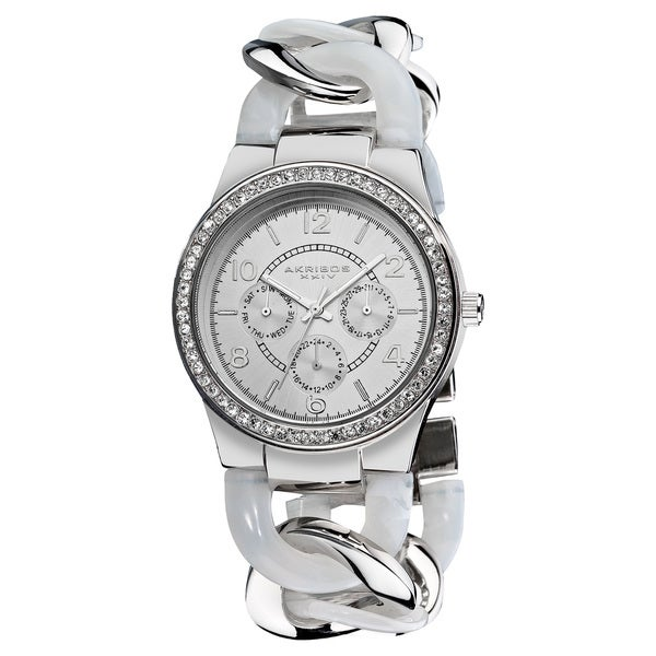 Akribos XXIV Women's Quartz Multifunction Crystal Accented Resin Chain White Watch with FREE GIFT