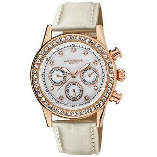 Akribos XXIV Women's Multifunction Dazzling Ivory White Strap Watch with FREE GIFT - Gold