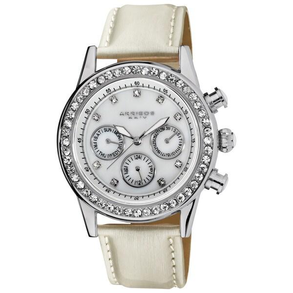 Akribos XXIV Women's Multifunction Dazzling Silver-Tone Strap Watch