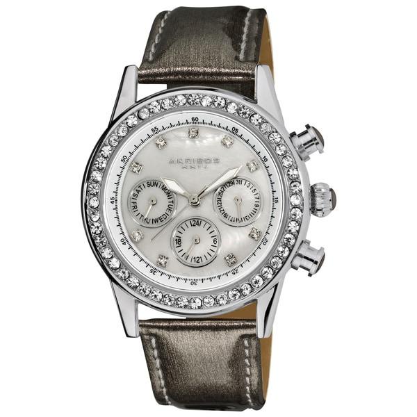 Akribos XXIV Women's Multifunction Dazzling Gray Strap Watch with FREE GIFT - Grey
