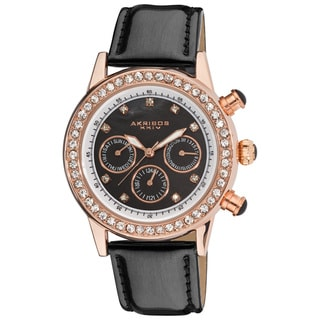 Akribos XXIV Women's Multifunction Dazzling Black Strap Watch with FREE GIFT