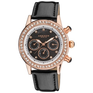Akribos XXIV Women's Multifunction Dazzling Black Strap Watch