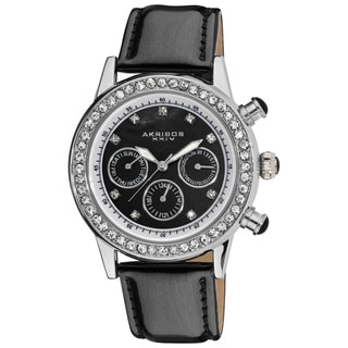 Akribos XXIV Women's Multifunction Dazzling Black Strap Swiss Quartz Watch