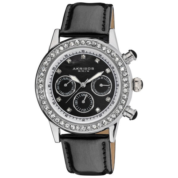 Akribos XXIV Women's Multifunction Dazzling Black Strap Swiss Quartz Watch with FREE GIFT - Silver