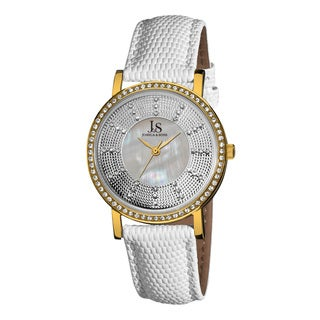 Joshua & Sons Women's Swiss Quartz Stainless Steel White-Gold-Tone Strap Crystal Watch