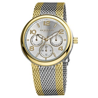 Akribos XXIV Women's Quartz Multifunction Stainless Steel Mesh Gold-Tone Bracelet Watch with FREE GIFT - Two-Tone/Gold