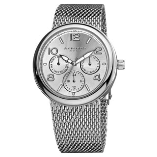 Akribos XXIV Women's Quartz Multifunction Stainless Steel Mesh Silver-Tone Bracelet Watch with FREE GIFT - Silver