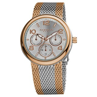 Akribos XXIV Women's Quartz Multifunction Stainless Steel Mesh Rose-Tone Bracelet Watch with FREE GIFT - Gold/Silver