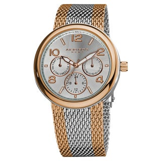 Akribos XXIV Women's Quartz Multifunction Stainless Steel Mesh Rose-Tone Bracelet Watch - Gold/Silver