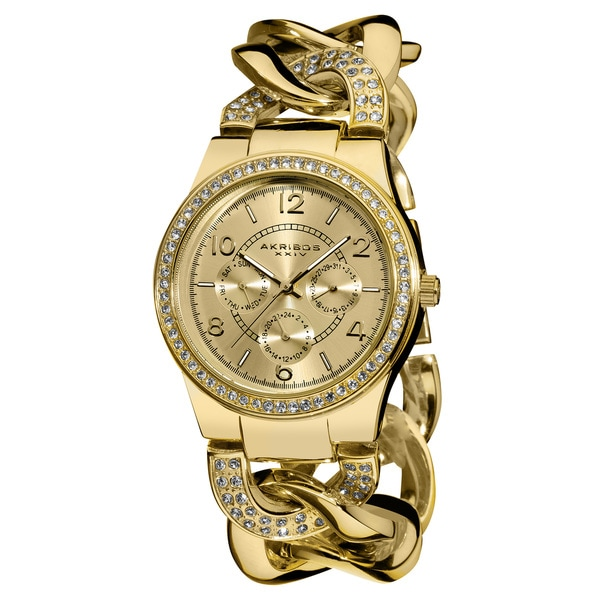 Akribos XXIV Women's Multifunctional Crystal Accented Twist Chain Gold-Tone Watch
