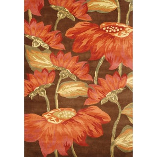 Alliyah Handmade Cocoa Brown New Zealand Blend Wool Rug (9' x 12')