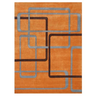 Alliyah Handmade OrangeNew Zealand Blend Wool Rug (8' x 10')