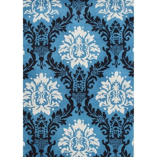 Hand-tufted French Blue Wool Rug (5' x 8')