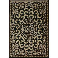 Alliyah Handmade Black New Zealand Blend Wool Rug - 5' x 8'
