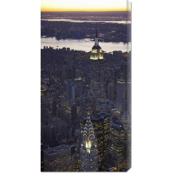 Global Gallery Cameron Davidson 'Aerial view of midtown Manhattan' Stretched Canvas