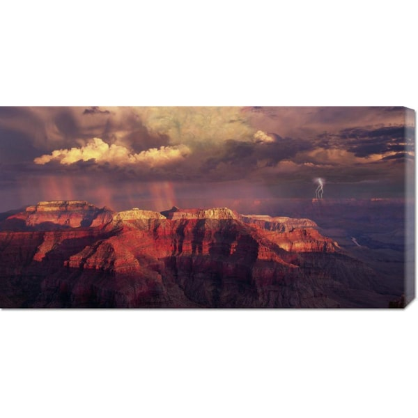 Global Gallery Bill Ross 'Sunset Thunderstorm at Grand Canyon' Stretched Canvas